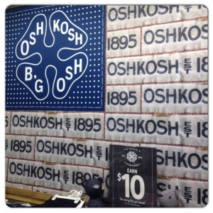 OshKosh B'gosh quilt that welcomes you to their store!